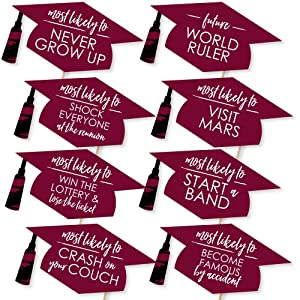 Hilarious Maroon Grad - Best is Yet to Come - Burgundy Graduation Party Photo Booth Props Kit Supply