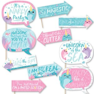 Funny Narwhal Girl - Under The Sea Baby Shower or Birthday Party Photo Booth Props Kit