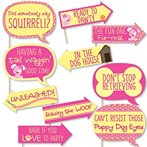 Girl Puppy Dob Photo Booth Props