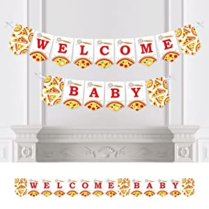 Pizza Party Time  - Baby Shower Bunting Banner - Party Decorations - Welcome Baby