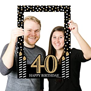 Adult 40th Birthday - Gold Photo Booth Props and Frame