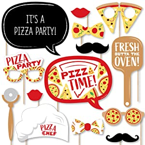 Pizza Party Time - Baby Shower or Birthday Party Photo Booth Props Kit