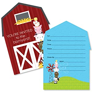 Farm Animals Party Shaped Fill In Invitations