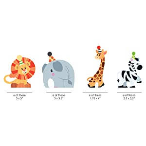 Jungle Party Animals Safari Zoo Baby Shower Birthday Bday Party Shaped Cut Outs