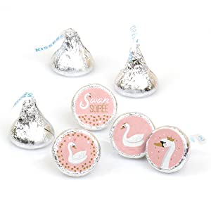 Swan Soiree - White Swan Baby Shower or Birthday Candy Sticker Favors - Fit Hershey's Kisses
