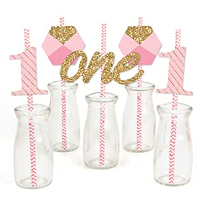 Fun to be One Girl First Birthday Straw Decor