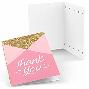 Set of 24 Fun To Be One - Pink Thank You Cards for a Birthday Party | Big Dot of Happiness