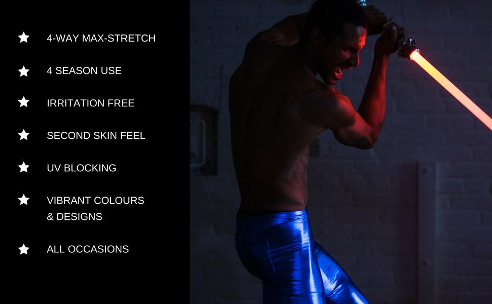 man wearing blue metallic shiny reflective mens leggings holding light sabre