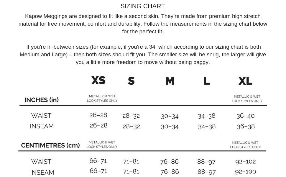 metallic size chart