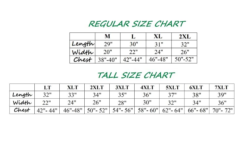 Size Chart 7XL
