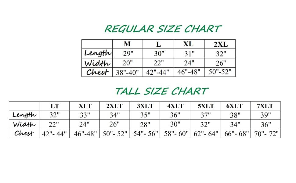Size Chart 7XLT