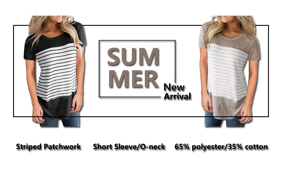 zawapemia short sleeve color block tshirt