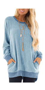 Womens Long Sleeve Short Sleeve Color Block Pocket Blouse Tunic Tops