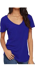Womens V Neck Short Sleeve Tshirts with Pocket