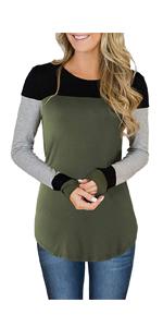 Womens Triple Color Block Long Sleeve Tunic Tops