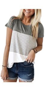 ZAWAPEMIA Womens Short Sleeve Triple Color Block Stripe T-Shirt