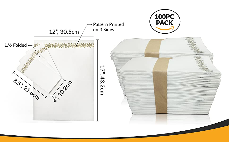 SimbaLux airlaid wedding napkins unfolded and 1/6 folded dimensions pattern 100PC pack package