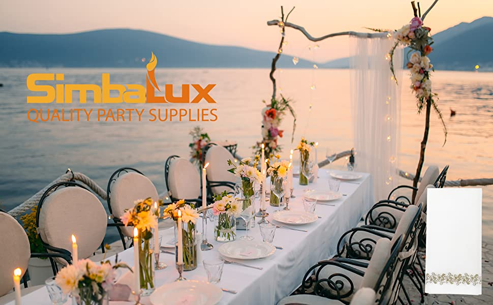 SimbaLux airlaid napkins wedding reception anniversary dinner hand towels quality party supplies