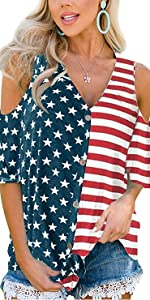 July 4th Women Short Sleeve American Flag Top V Neck Casual Cold Shoulder Blouse L …