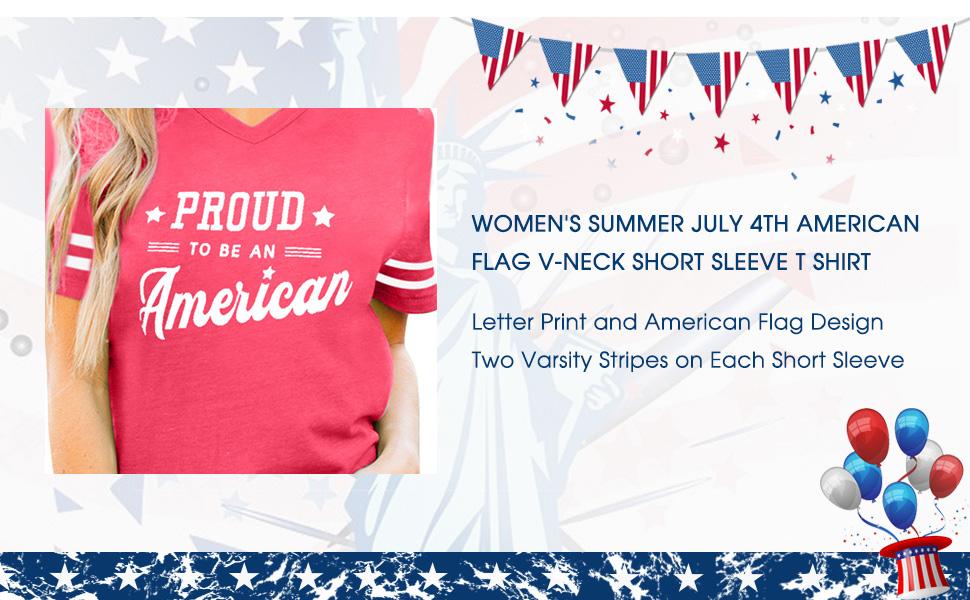 Women's July 4th USA V-Neck T Shirt
