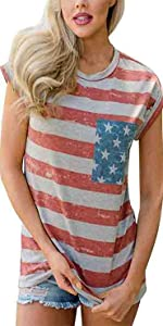 July 4th Womens USA Flag T-Shirt
