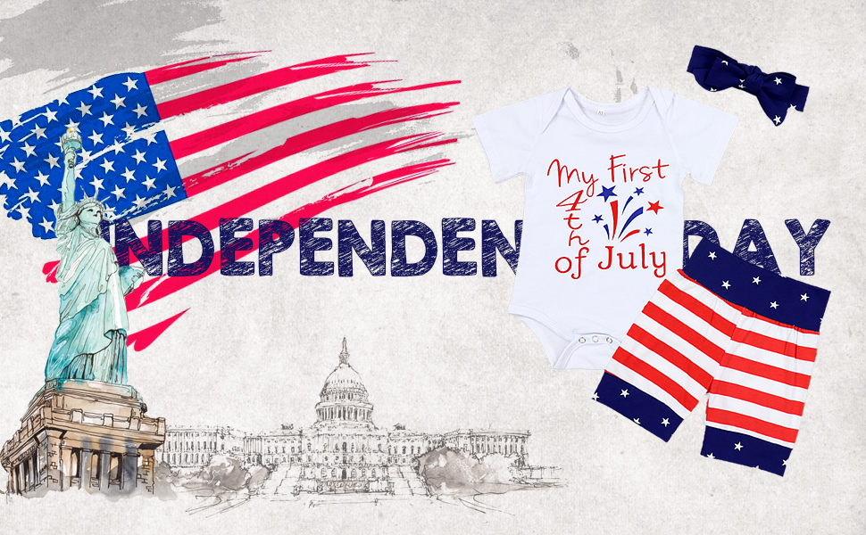 baby boy clothes baby girl clothes independence day 4th of july baby romper