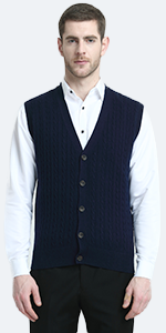 cable knit vest with buttons