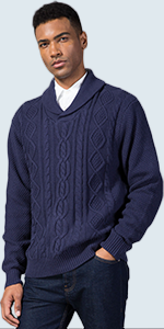 Cable knit shawl collar pullover