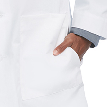 """Front pockets with side access shown on Barco Uniforms 9599 Men's 37"""" Lab Coat"""