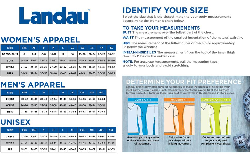 Landau Scrubs Size Chart