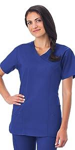White Swan Fundamentals 14371 Women's Scrub Top Mock Wrap Medical Healthcare Uniforms Fashion