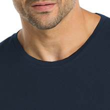 Close-up of the crew neck on the Barco One 0305 Men's Seamless Scrub Tee
