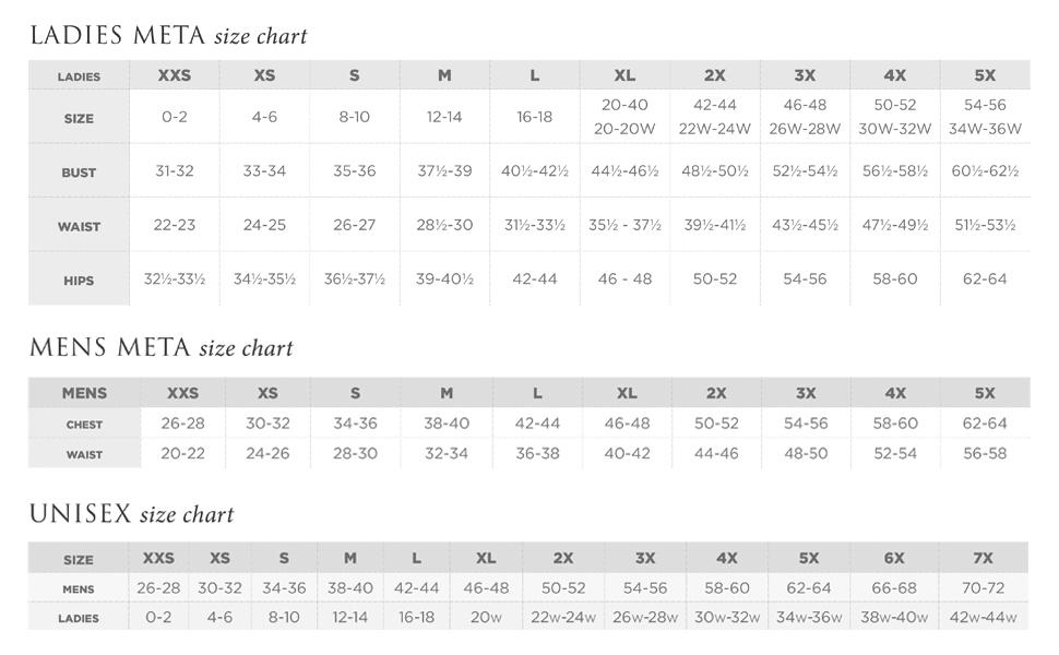 Meta Labwear Size Chart
