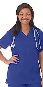 White Swan Fundamentals 14700 Women's Scrub Top V-Neck Medical Healthcare Uniforms Fashion