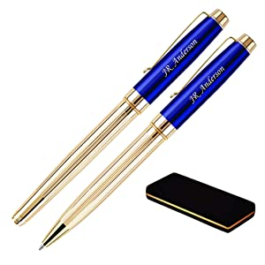 Braxton Blue Ballpoint and Rollerball Set