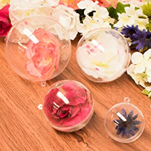 Clear Fillable Baubles Craft,  New Years Present Holiday Wedding Party Home Decor