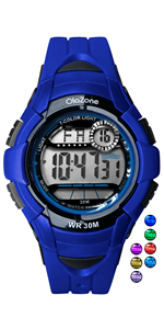 blue kids boys/girls digital watch age 5-10