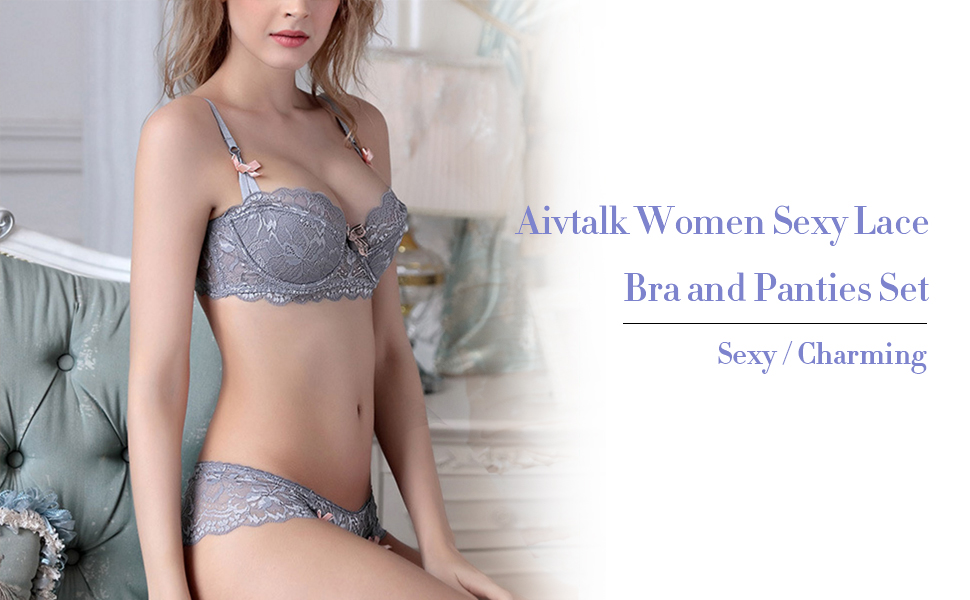 Aivtalk women sexy lace bra and panties set looks sexy and charming.