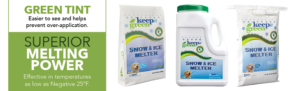 large small fast snow melt salt salting for snow ice safe for family pets kids green
