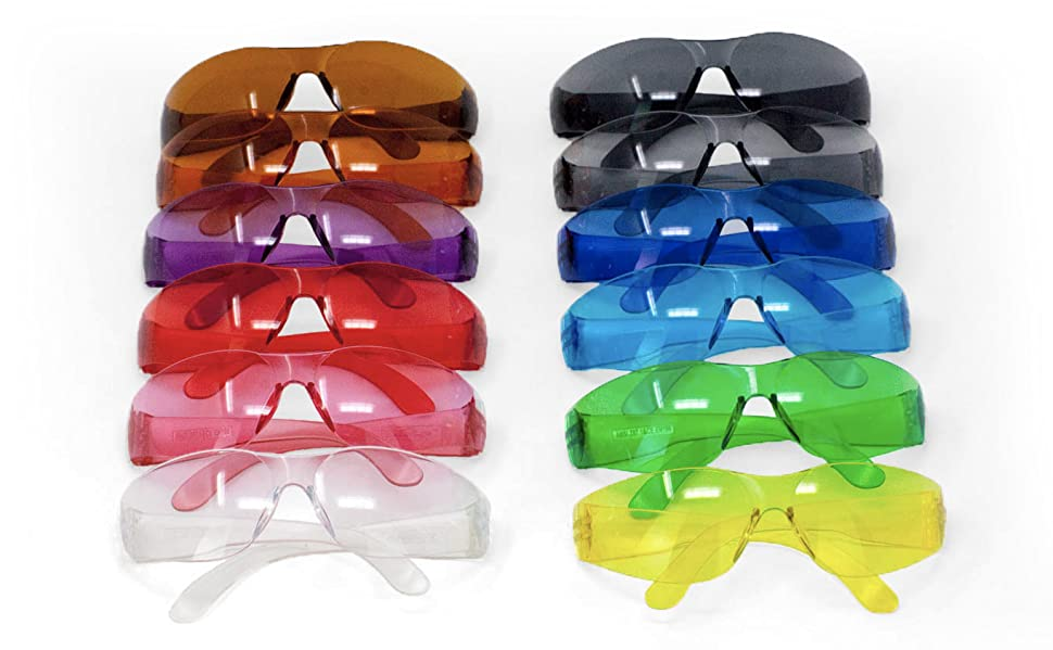 Image of assorted colors of 12 pairs of safety glasses.
