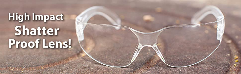 Image of Clear lens clear temple safety glasses outdoors.