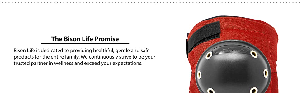Image of a red hard cap knee pad with the Bison Life Promise.