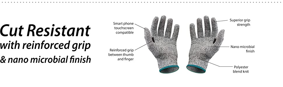 Image of Safe Handler Cut Resistant Gloves with detailed material and feature information.
