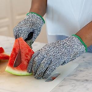 Image of Safe Handler Cut resistance gloves cutting watermelon.