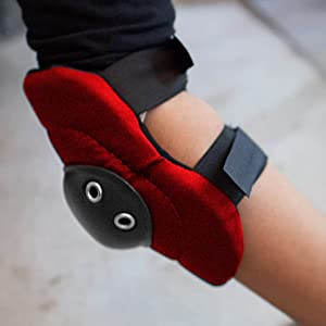 Image of a red hard cap elbow pad.