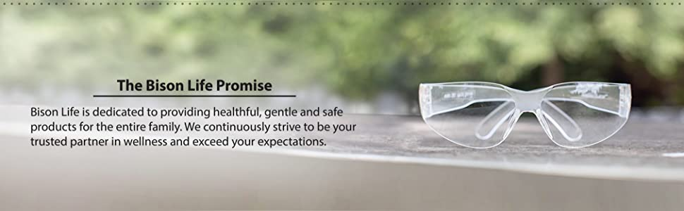 Image of clear safety glasses with the Bison Life Promise.