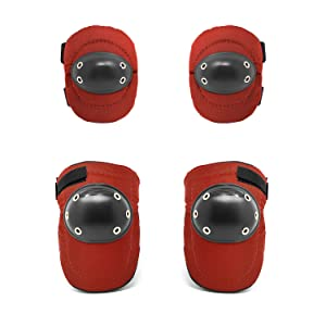 Image of red hard cap elbow and knee pads on a white background.