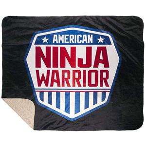 "American Ninja Warrior Faux Mink Sherpa Throw Blanket, Black 60"" x 50"""
