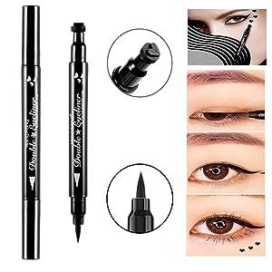 Double-headed Eyeliner Pen Stamp Black Waterproof Tearproof Long Lasting Painting Makeup Tool