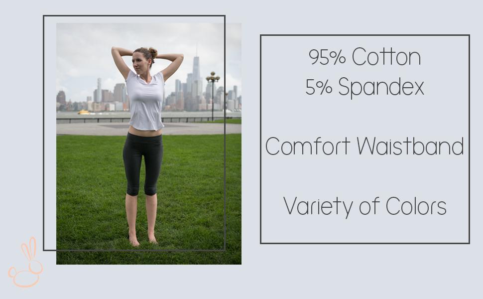 Leveret, leggings, yoga leggings, capri leggings, cotton leggings, cotton spandex leggings, womens